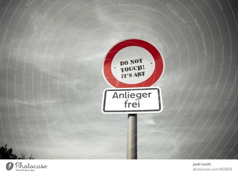 Kunst der Berührung Himmel Freude Umwelt grau oben Metall Wetter Design Verkehr frei Schriftzeichen Hinweisschild berühren planen Neugier