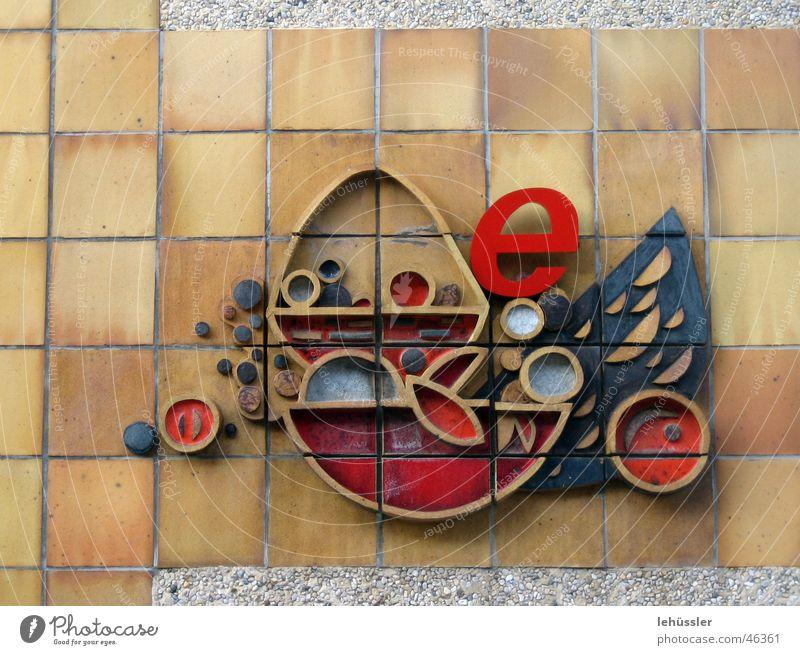 fisch (e) rot Aluminium Wand Sozialismus Relief fish red iron stone tiles socialistic Fliesen u. Kacheln Mauer