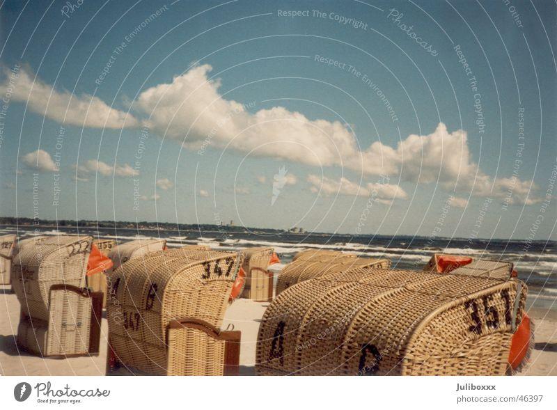 70er-Jahre-Strand Ferien & Urlaub & Reisen Strandkorb Wolken Meer Siebziger Jahre Fröhlichkeit Außenaufnahme Sonne Sand Ostsee Himmel Freiheit Glück Landschaft