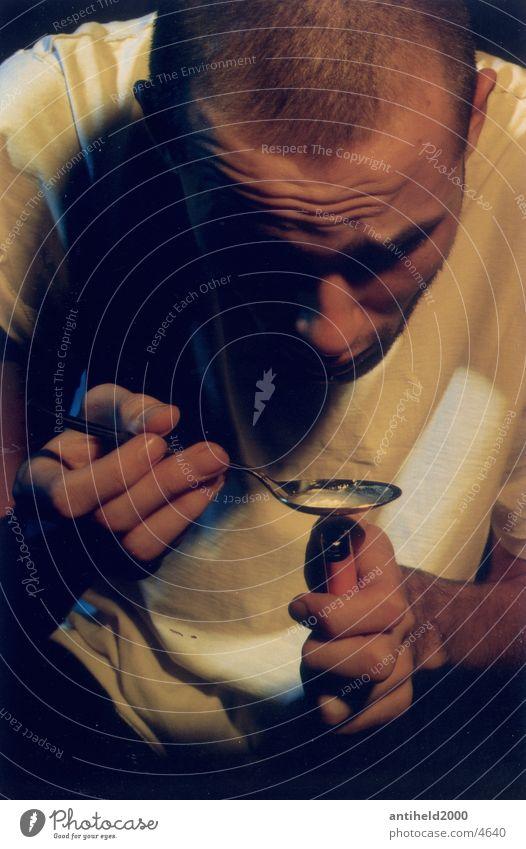 Junkie Mensch Rauschmittel Spritze Drogenkonsument Fixer Porträt Heroin