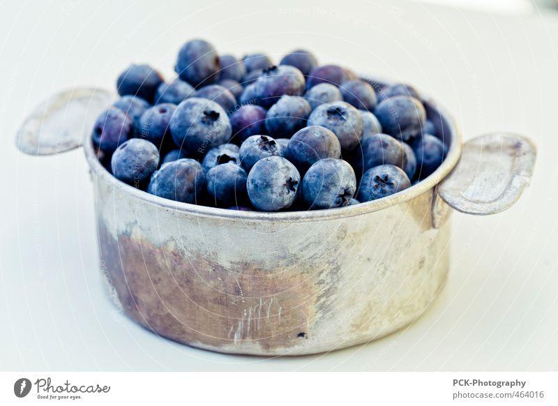Blaubeerentopf blau Lebensmittel Frucht genießen Metallwaren violett Bioprodukte silber Schalen & Schüsseln Topf Blaubeeren Aluminiumbehälter