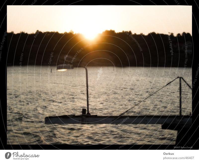Möwe Meer Sonnenuntergang Laterne Schweden