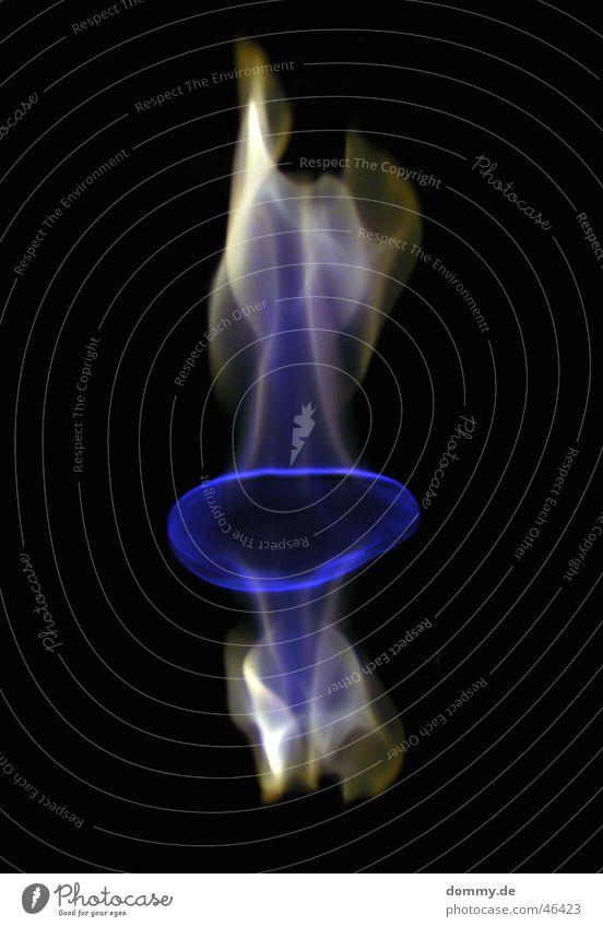fire blau schwarz gelb Glas Brand rund Spiegel brennen Flamme Oval