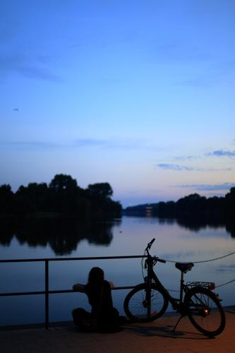 Entspannter Sommerabend Lifestyle Mensch feminin 1 18-30 Jahre Jugendliche Erwachsene Umwelt Landschaft Wasser Schönes Wetter Küste See Fahrrad beobachten
