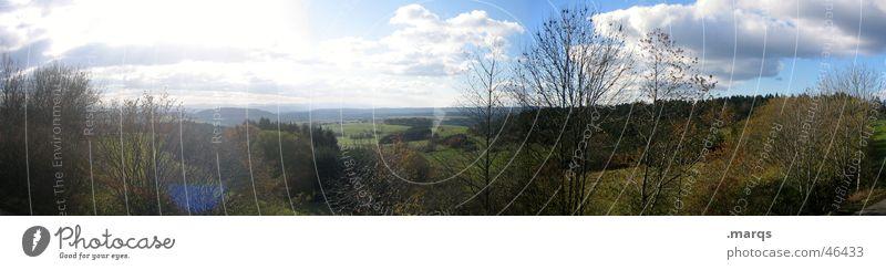 Natur im Weitwinkel Baum Sonne Wolken Ferne Wiese Gras Berge u. Gebirge Frühling Freiheit Landschaft groß Horizont Ausflug Tourismus Sträucher