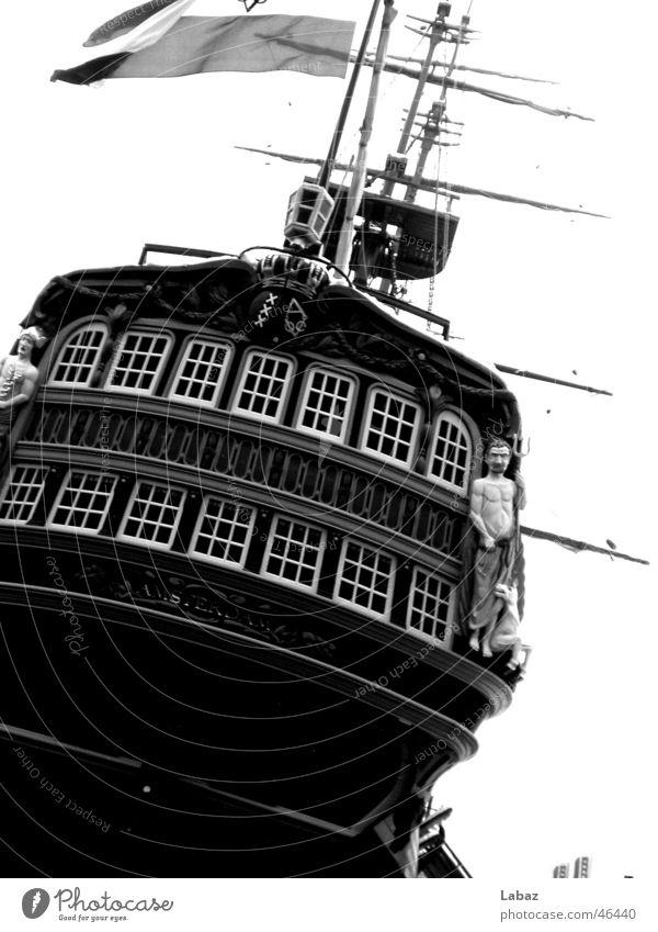 Schiff Wasserfahrzeug Segel Amsterdam Schwarzweißfoto Niederlande