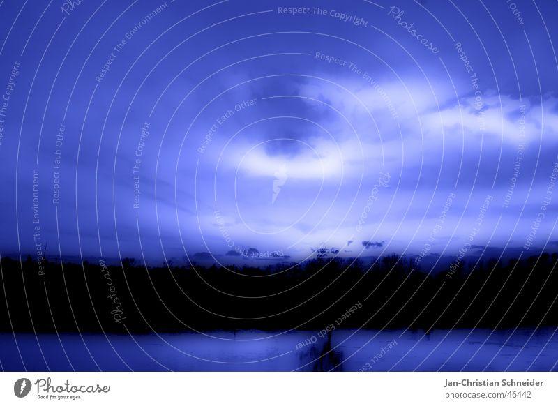 Blue Sky Wasser Himmel weiß Baum Sonne blau Wolken dunkel hell Fluss mystisch Gott Götter Weser