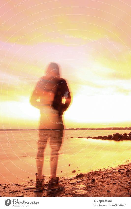 Strandgeist Himmel Natur Mann Wasser Sommer Meer Erwachsene gelb Wärme Küste außergewöhnlich rosa maskulin orange gold Schönes Wetter