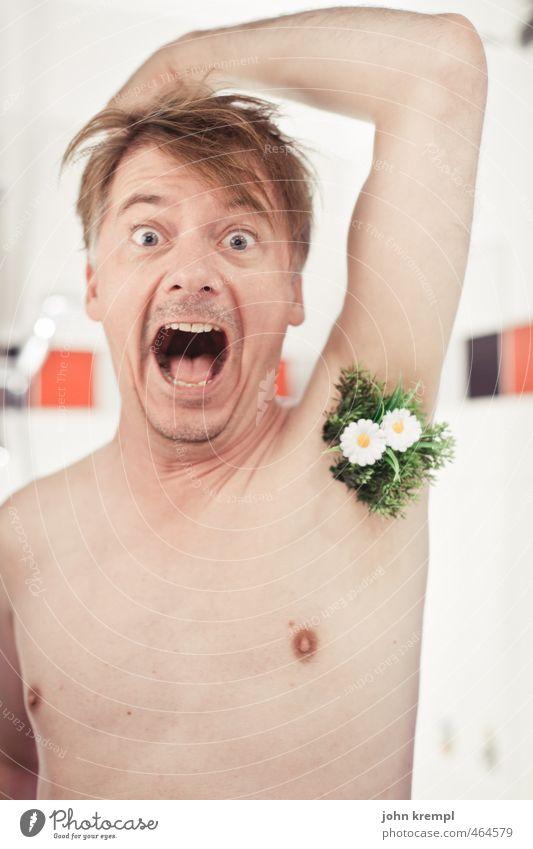 500 | Frühlingserwachen Mensch maskulin Gesicht Brust Achsel Achselhaare 30-45 Jahre Erwachsene Blume Wiese Bad Behaarung Blühend Wachstum trendy lustig nackt
