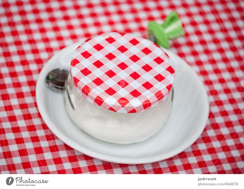 Karo mag es süß rot Stil Lifestyle elegant Dekoration & Verzierung authentisch ästhetisch Ernährung Streifen rund Kultur Kitsch Kunststoff Gastronomie Süßwaren