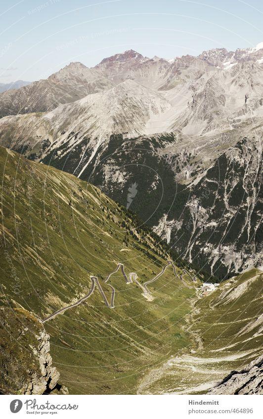 Vom Stilfserjoch Himmel Wolkenloser Himmel Sommer Wetter Schönes Wetter Baum Gras Wiese Wald Hügel Felsen Alpen Berge u. Gebirge Schneebedeckte Gipfel Alm