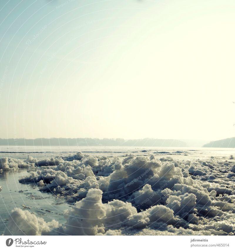 Eiszeit Umwelt Natur Landschaft Wasser Winter Wetter Frost Seeufer kalt Farbfoto Außenaufnahme Tag Zentralperspektive