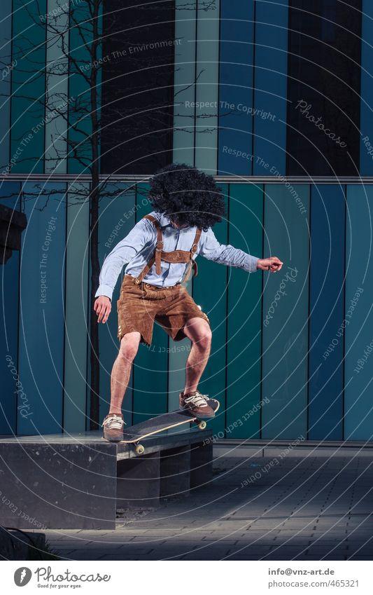 A Bayer! Trick Skateboarding Inline Skating Mauer Licht Blitzlichtaufnahme Aktion Nervenkitzel Funsport Sport fahren springen Weitwinkel Fischauge Mann Sportler