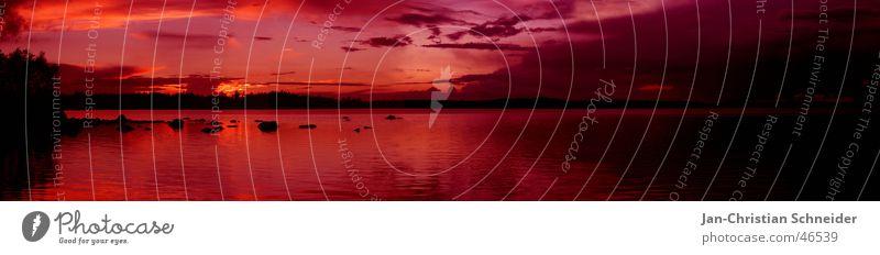 Schweden 2005 Ferien & Urlaub & Reisen Sonnenuntergang Sonnenaufgang Spiegel Wolken rot rosa dunkel Baum Horizont Wasser Himmel hell