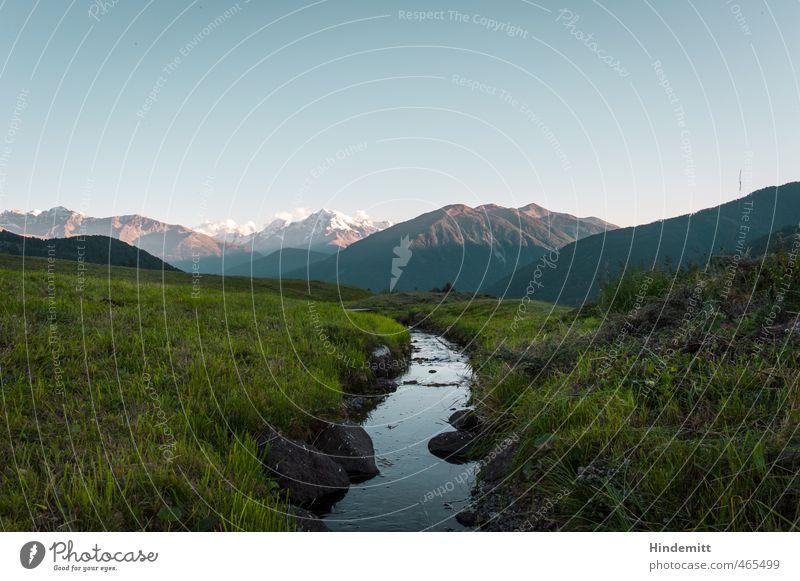 Zum Ortler Umwelt Natur Erde Luft Wasser Himmel Wolkenloser Himmel Sommer Schönes Wetter Wiese Hügel Felsen Alpen Berge u. Gebirge Schneebedeckte Gipfel Bach