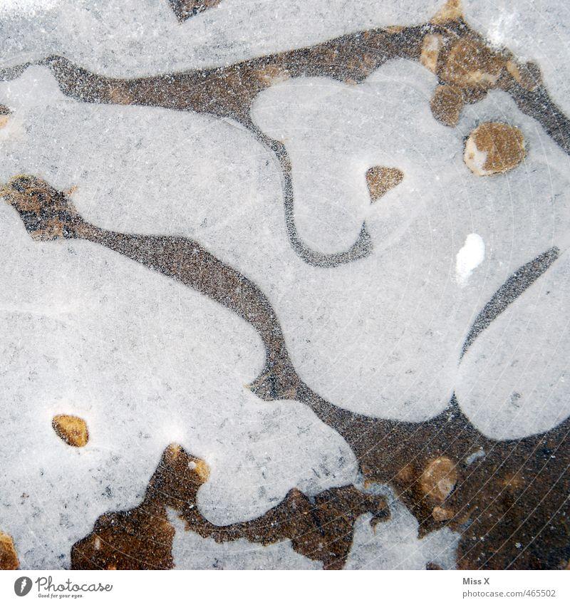 Kalt Wasser Winter Eis Frost Schnee kalt Pfütze gefroren Wetter Farbfoto Gedeckte Farben Außenaufnahme Muster Strukturen & Formen Menschenleer Vogelperspektive