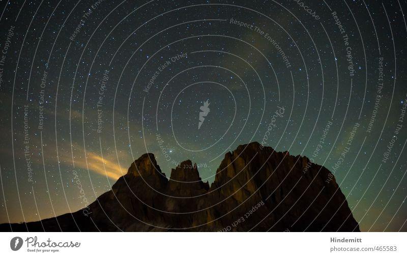 Unterm Sternenzelt (2): Langkofel Umwelt Natur Urelemente Erde Luft Himmel Nachthimmel Sommer Schönes Wetter Felsen Alpen Berge u. Gebirge Gipfel leuchten