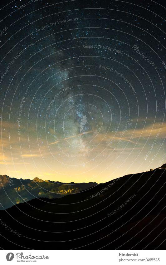 Galaktisches Zentrum III Himmel blau Sommer schwarz Wald dunkel Berge u. Gebirge grau außergewöhnlich hell Felsen orange glänzend Zufriedenheit leuchten stehen