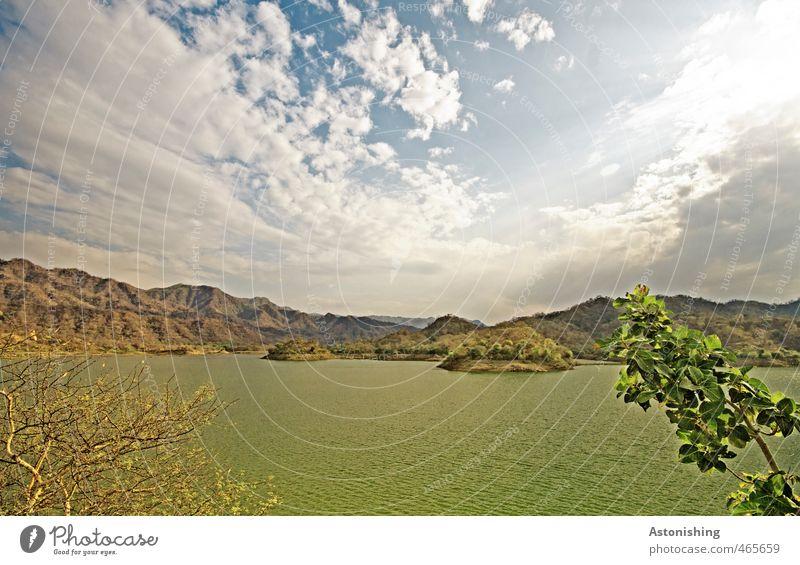 Ranakpur Dam II Himmel Natur blau grün Wasser Pflanze Sommer Baum Landschaft Wolken Umwelt Berge u. Gebirge Gras Reisefotografie Küste See
