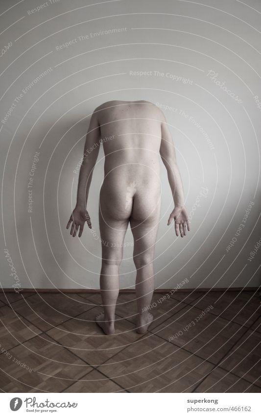 Headless Mensch Körper Haut Rücken Arme Hand Gesäß Beine Fuß 1 ästhetisch Ferne nackt Erotik Hoffnung Glaube demütig Traurigkeit Sorge Trauer Tod Müdigkeit