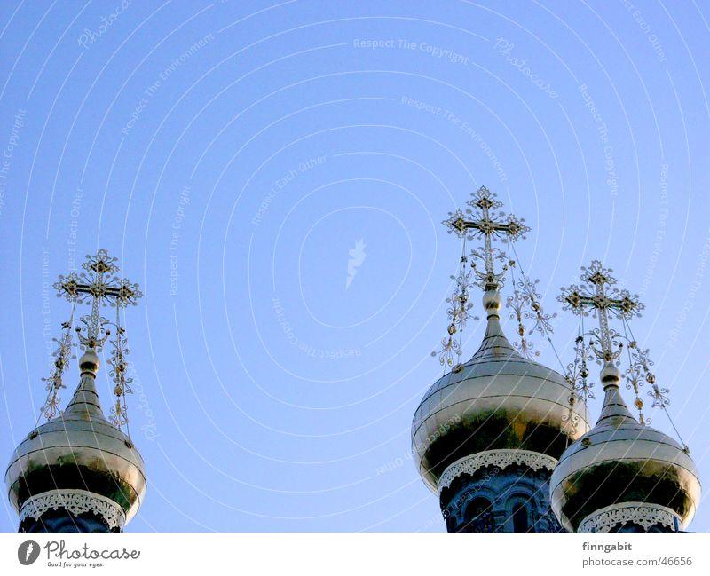 Russische Kapelle Mathildenhöhe Zwiebelturm Orthodoxie heilig Christentum Darmstadt 1903 Rücken Religion & Glaube Russland goldene dächer Turm Himmel