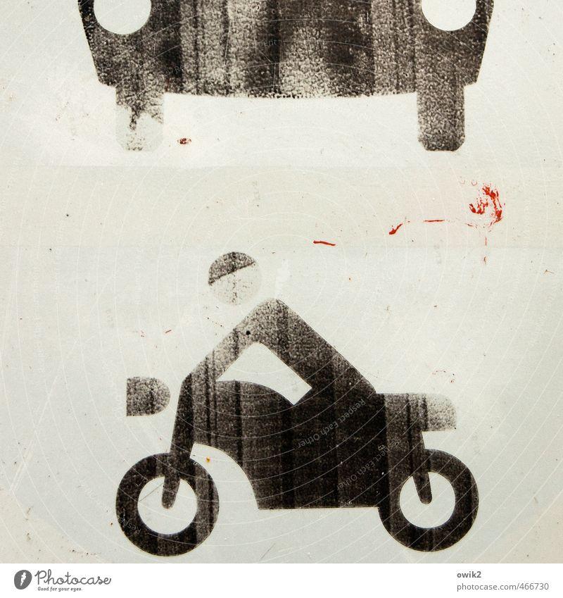 Fluchtweg alt Farbe PKW Verkehr Schilder & Markierungen Geschwindigkeit Hinweisschild einfach Zeichen fahren Symbole & Metaphern Spuren nah Motorrad Piktogramm