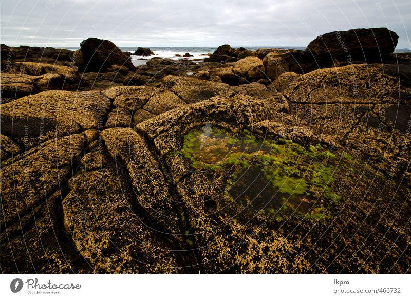 Himmel Natur Ferien & Urlaub & Reisen Pflanze Sommer Meer Landschaft Wolken Strand schwarz Küste Stein Sand Felsen Tourismus dreckig