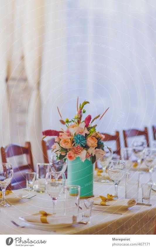* Geschirr Glas Sektglas Tisch Tischwäsche Tischdekoration Dekoration & Verzierung Feste & Feiern Blume Blumenvase weiß grün rosa gold orange Farbfoto
