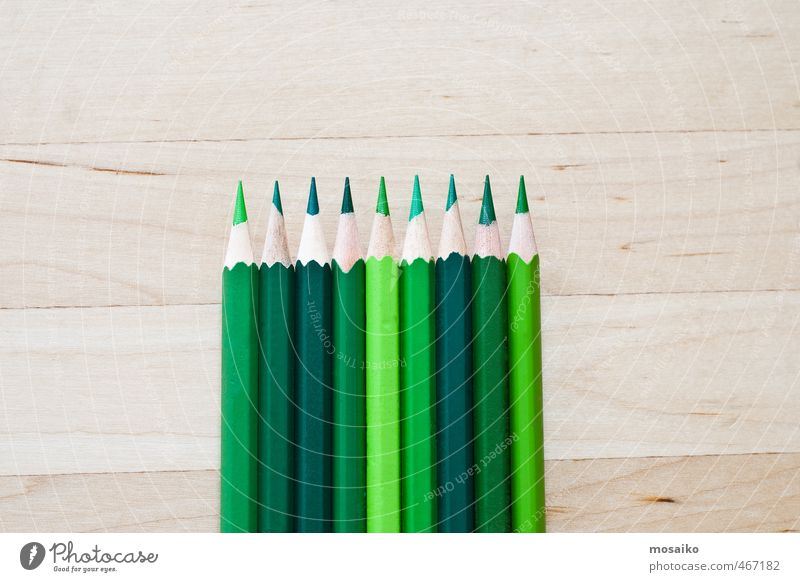 green pens on wooden background - natural greenery grün Farbe hell Linie Schule Kunst Arbeit & Erwerbstätigkeit Studium Kreativität Idee rein zeichnen Werkzeug