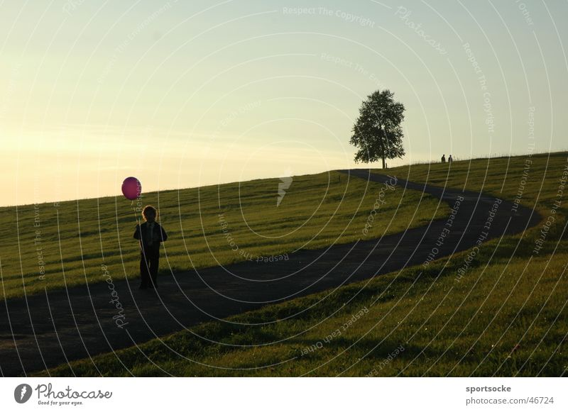 Kind mit Ballon Kind Natur Baum Luftballon