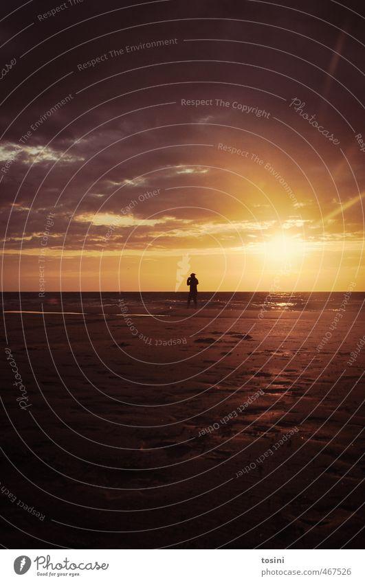 sonne und meer Frau Erwachsene 1 Mensch Umwelt Natur Landschaft Erde Sand Wasser Himmel Wolken Sonne Sonnenaufgang Sonnenuntergang Sonnenlicht Strand Meer