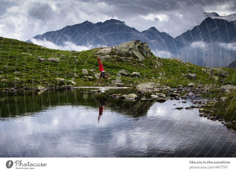 postkartengrüße aus tirol: 1€ Mensch Natur Jugendliche Ferien & Urlaub & Reisen Junge Frau Landschaft Wolken Ferne Umwelt Berge u. Gebirge Leben feminin Gras