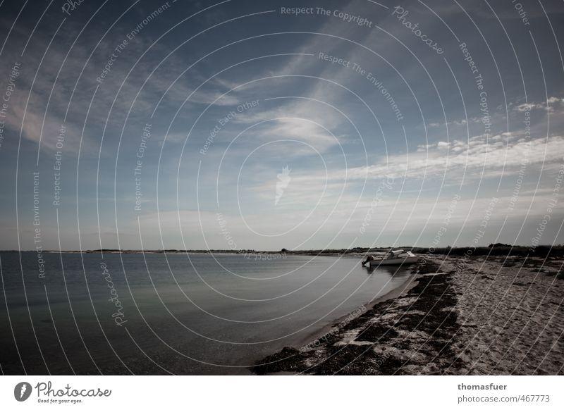 eine Insel für mich alleine Himmel Ferien & Urlaub & Reisen Sommer Sonne Meer Erholung Einsamkeit ruhig Strand Ferne Wärme Küste Freiheit Sand Wasserfahrzeug Horizont