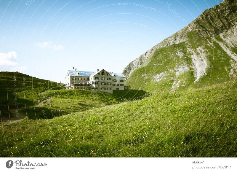 Ries'n Hütten Wiese Hügel Alpen Berge u. Gebirge Haus Idylle Natur Tourismus Ferien & Urlaub & Reisen Berghütte Allgäu Alm wandern Farbfoto Außenaufnahme