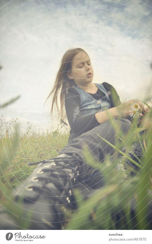 lady h ... Mensch Himmel Kind Natur Sommer Blume Wolken Mädchen Umwelt Gesicht Wiese feminin Gras natürlich Haare & Frisuren Beine