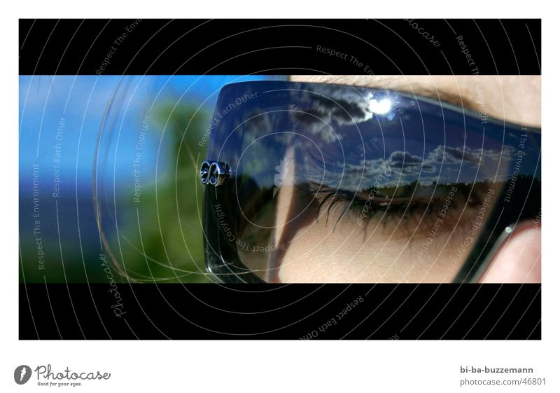 Sonnenbrille Reflexion & Spiegelung Verlauf Weinberg Wimpern Wolken Auge Himmel blau Detailaufnahme Gesicht escada