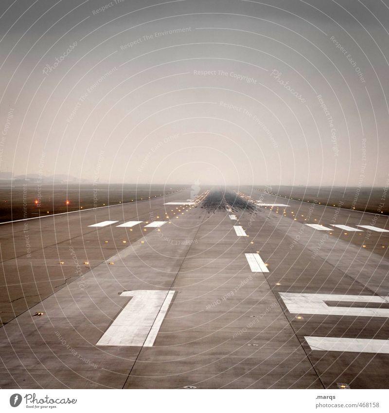 Abflug Ferien & Urlaub & Reisen Landschaft Ferne 1 Wege & Pfade Horizont Verkehr Luftverkehr Beginn Zukunft Streifen Ziffern & Zahlen Zeichen Ziel schlechtes Wetter Verkehrsmittel