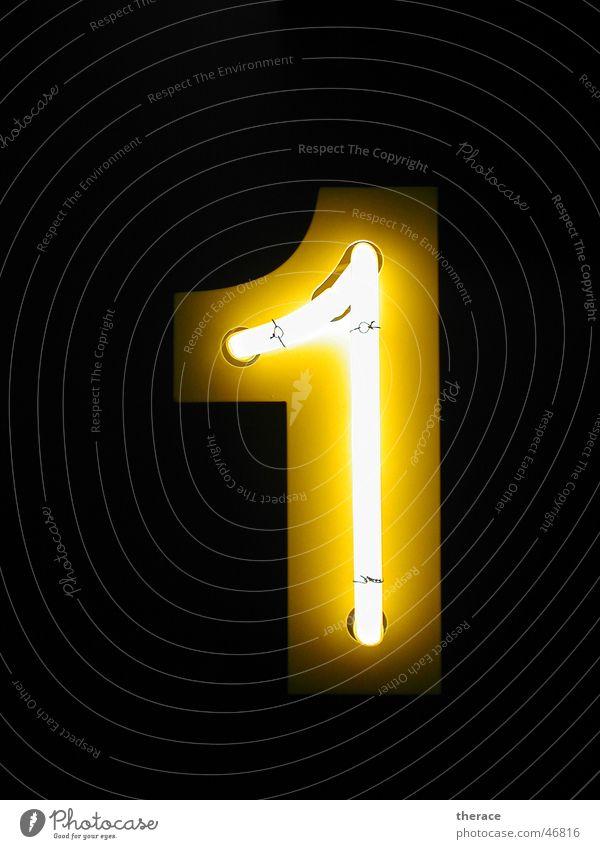 Profil 1 Neonlicht Blech Zarge Typographie Ziffern & Zahlen gelb dunkel Licht Werbung one dark light Lampe Beleuchtung public relation