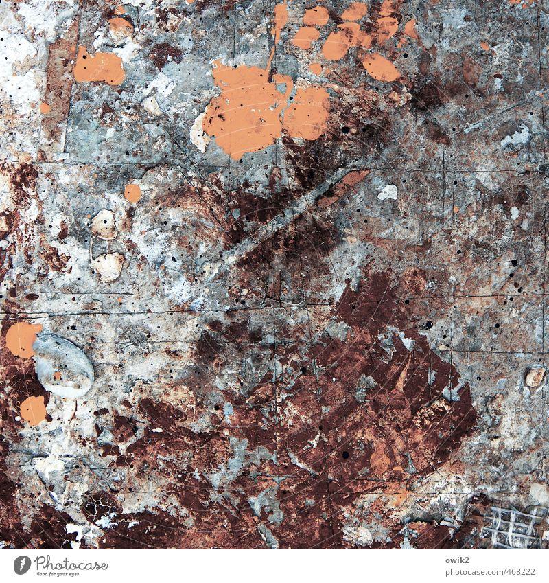 Musique concrète Kunst Kunstwerk Gemälde blau violett orange chaotisch mehrfarbig Fleck klecksen Linie bizarr Farbfoto Experiment abstrakt Strukturen & Formen