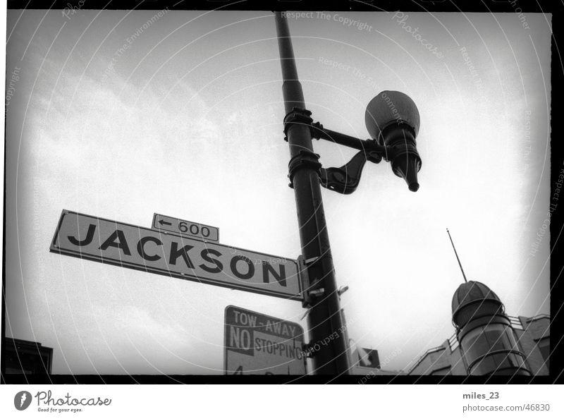 Jackson Street Straßennamenschild San Francisco Straßenbeleuchtung straßenmast Mischung Himmel