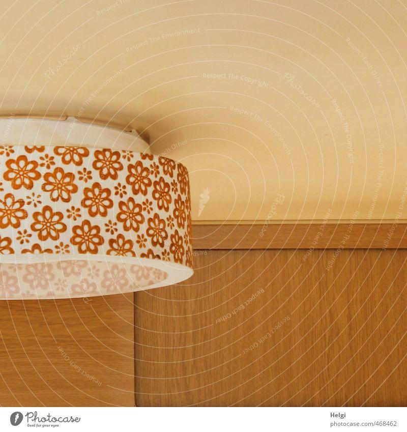 retro... Häusliches Leben Wohnung Innenarchitektur Lampe Raum Wohnwagen Holz Kunststoff Ornament Blumenmuster hängen alt authentisch außergewöhnlich einfach