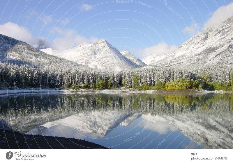 September in Kanada See Herbst Neuschnee kalt Ferien & Urlaub & Reisen Schnee reflektion Freiheit Wasser Landschaft Berge u. Gebirge Rocky Mountains Himmel