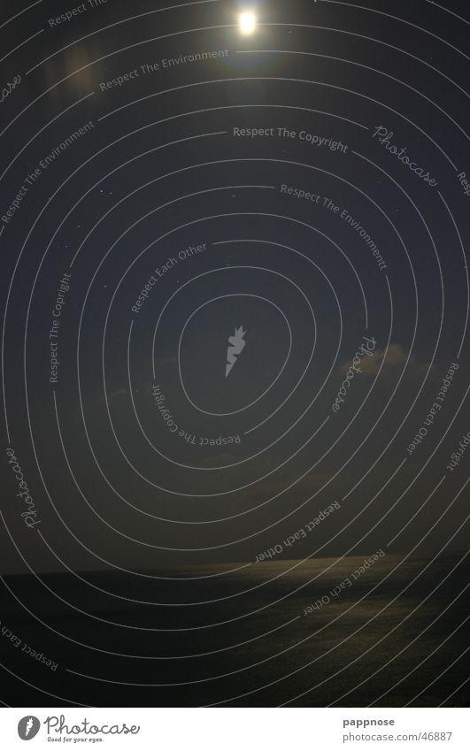 Meer bei Nacht Ferien & Urlaub & Reisen Stimmung dunkel See Trauer besinnlich Langzeitbelichtung Außenaufnahme Nachtaufnahme Mond Wasser Natur Himmel Ferne