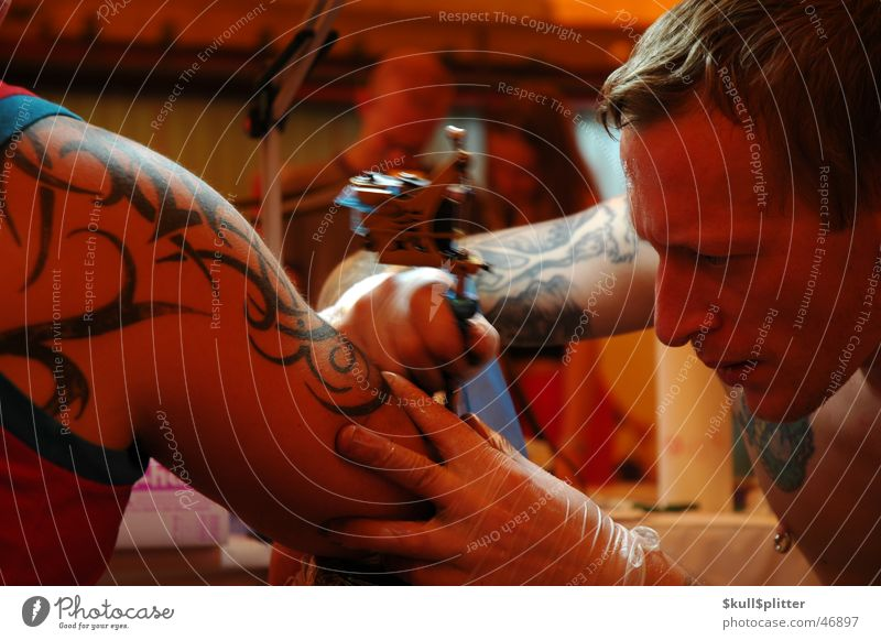 Painful Tribal Piercing Tattoo needle body art