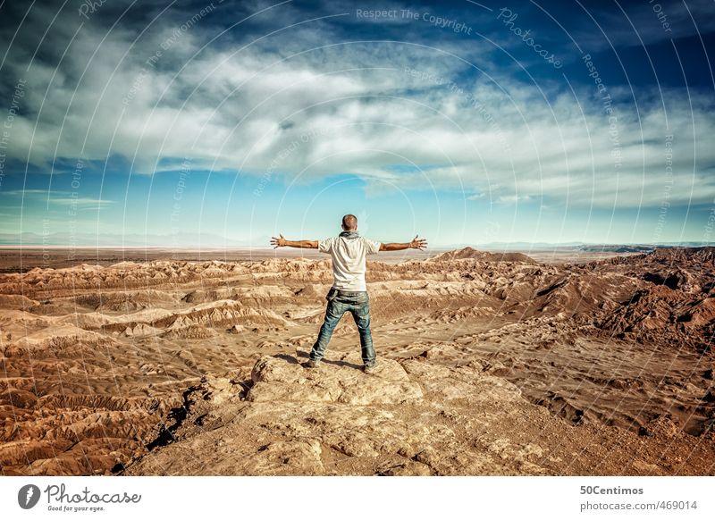 Freiheit - Feel free in the desert Mensch Natur Jugendliche Mann Ferien & Urlaub & Reisen Sommer Sonne ruhig Landschaft Freude Ferne Erwachsene 18-30 Jahre