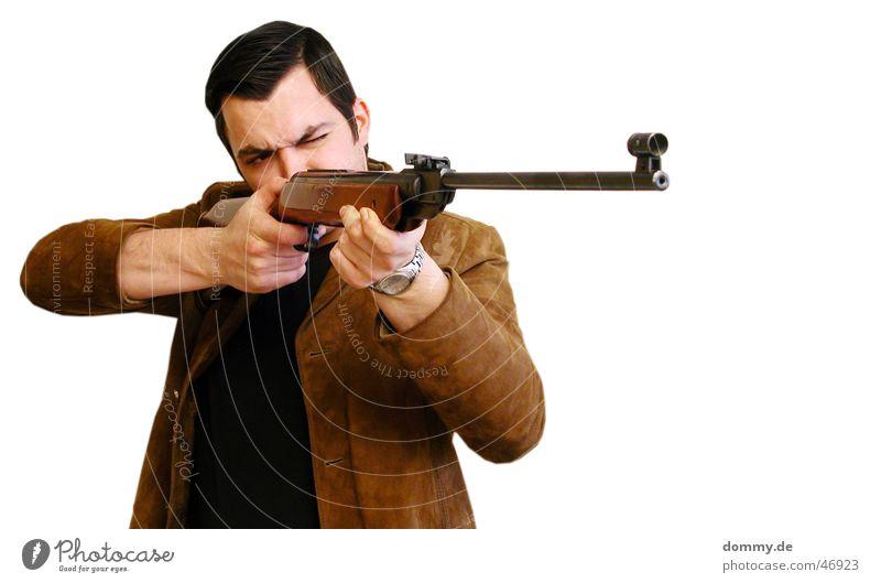 den Bock abschießen Mann Ernährung Lebensmittel Uhr Jacke Wildtier Jagd Eisenrohr Leder Korn töten Jäger schießen Gewehr Bock geschniegelt