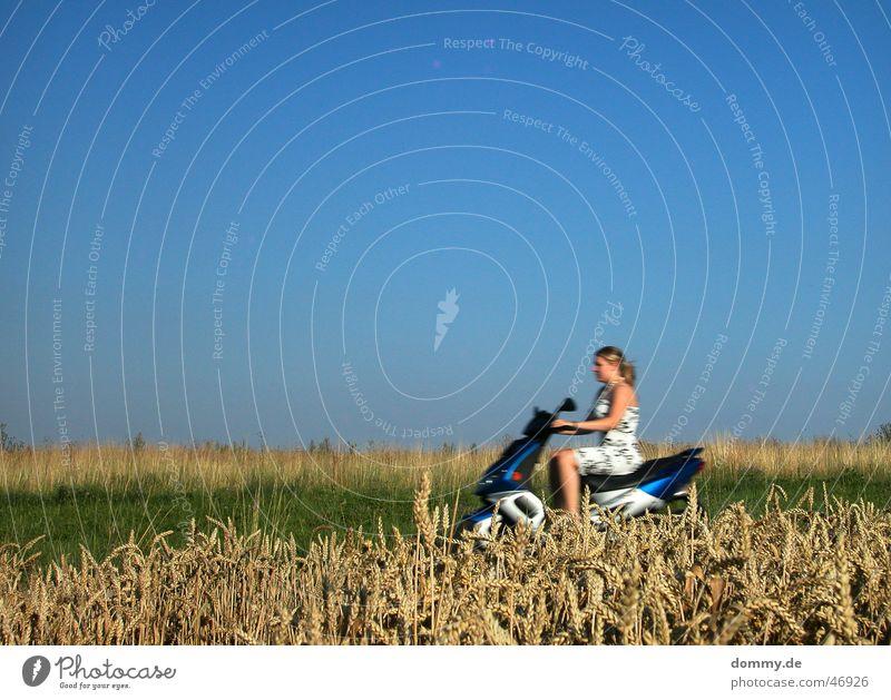 jetzt aber schnell Frau Himmel Sonne grün blau Sommer gelb Motorrad braun Feld Geschwindigkeit fahren Kleid Schönes Wetter Kleinmotorrad Mensch