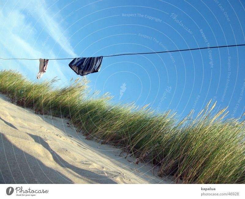 Strandtag Meer Badehose Bikini Schilfrohr grün hängen Wolken Sand Stranddüne Sonne blau Schatten Seil Schönes Wetter Himmel