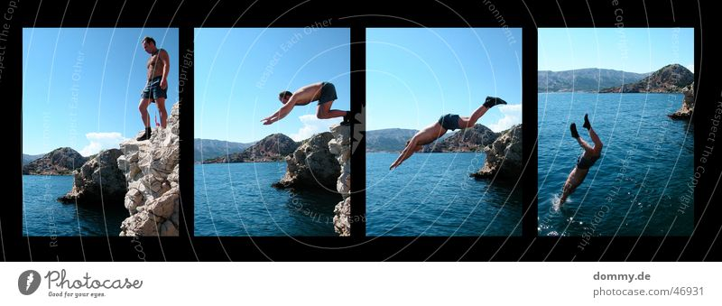der Sprung II Mann Wasser Sonne Sommer kalt springen Berge u. Gebirge Stein Felsen 4 Hose Teile u. Stücke Kerl Mensch Klippe