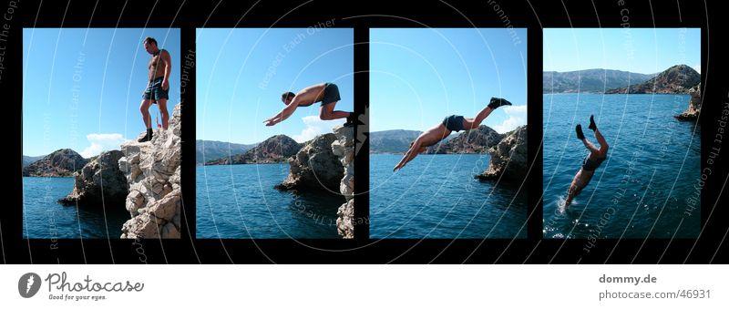 der Sprung II springen Kroatien Baška Klippe 4 Kerl Mann Hose Badehose kalt Sommer Wasser zdenek Felsen Stein Teile u. Stücke Lomografie Berge u. Gebirge Sonne